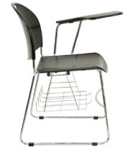 Black High Density Left Facing Flip-Up Tablet Arm Chair with Chrome Frame -17195