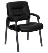 Black Leather Executive Side Chair with Titanium Frame Finish-0