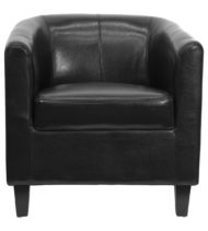 Black Leather Office Guest Chair / Reception Chair -0