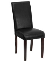 Black Leather Upholstered Parsons Chair -0