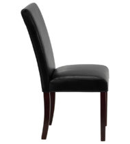 Black Leather Upholstered Parsons Chair -14876