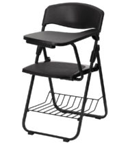 Black Plastic Chair with Left Handed Tablet Arm and Book Basket -0