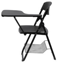Black Plastic Chair with Left Handed Tablet Arm and Book Basket -17179