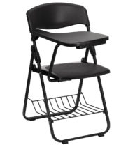 Black Plastic Chair with Right Handed Tablet Arm and Book Basket -0