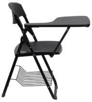 Black Plastic Chair with Right Handed Tablet Arm and Book Basket -17183