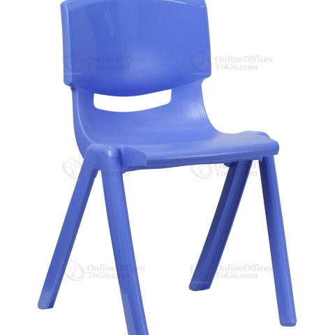 Blue Plastic Stackable School Chair with 18'' Seat Height -0