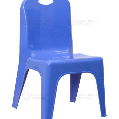 Blue Plastic Stackable School Chair with Carrying Handle and 11'' Seat Height -0