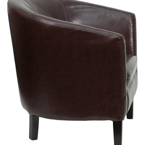 Brown Leather Barrel Shaped Guest Chair -16246