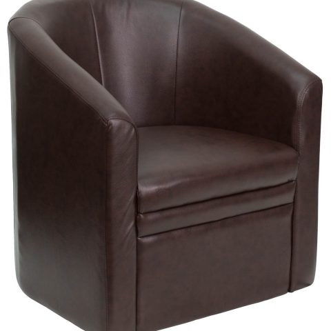 Brown Leather Barrel-Shaped Guest Chair -0