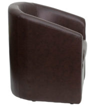 Brown Leather Barrel-Shaped Guest Chair -16241