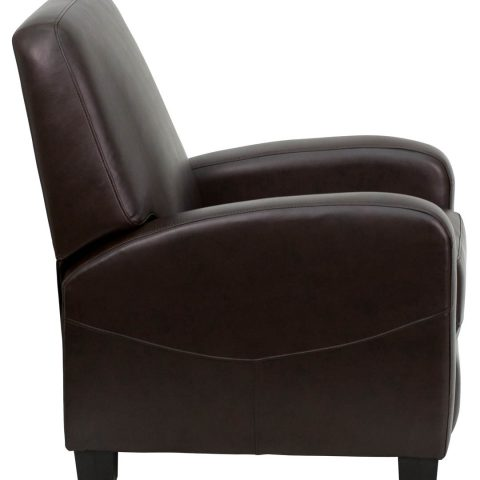 Brown Leather Push Back Recliner -17012