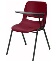 Burgundy Ergonomic Shell Chair with Left Handed Flip-Up Tablet Arm -0