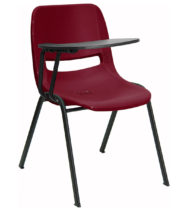 Burgundy Ergonomic Shell Chair with Right Handed Flip-Up Tablet Arm -0