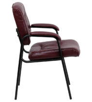 Burgundy Leather Guest / Reception Chair with Black Frame Finish -14840