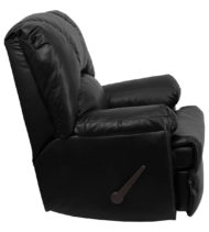 Contemporary Apache Black Leather Rocker Recliner -17555