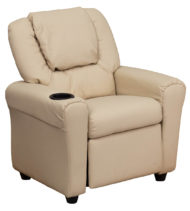 Contemporary Beige Vinyl Kids Recliner with Cup Holder and Headrest -0
