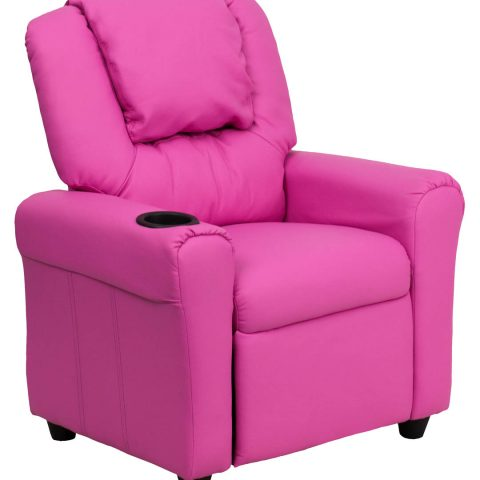 Contemporary Hot Pink Vinyl Kids Recliner with Cup Holder and Headrest -0