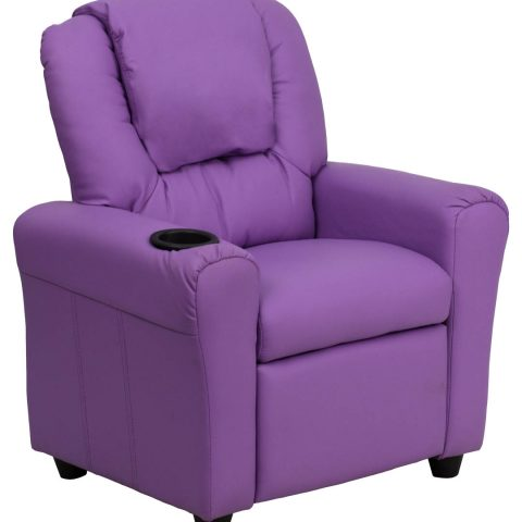 Contemporary Lavender Vinyl Kids Recliner with Cup Holder and Headrest -0