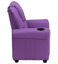 Contemporary Lavender Vinyl Kids Recliner with Cup Holder and Headrest -15679