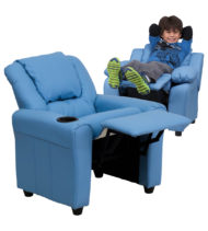 Contemporary Light Blue Vinyl Kids Recliner with Cup Holder and Headrest -0