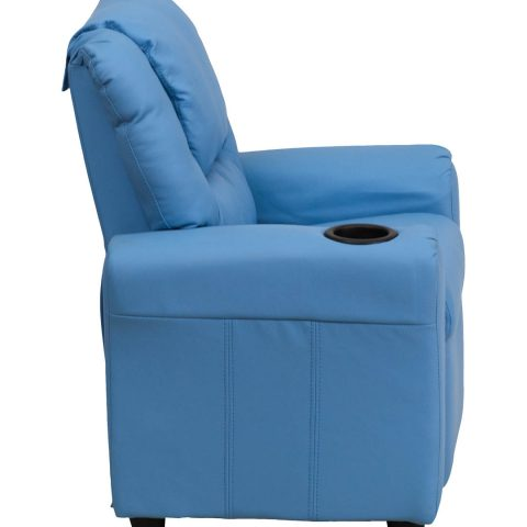 Contemporary Light Blue Vinyl Kids Recliner with Cup Holder and Headrest -15684