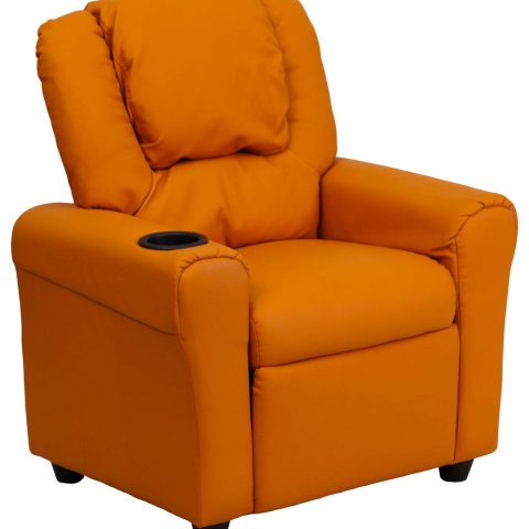 Contemporary Orange Vinyl Kids Recliner with Cup Holder and Headrest -0