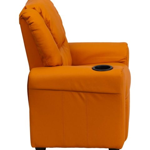 Contemporary Orange Vinyl Kids Recliner with Cup Holder and Headrest -15689