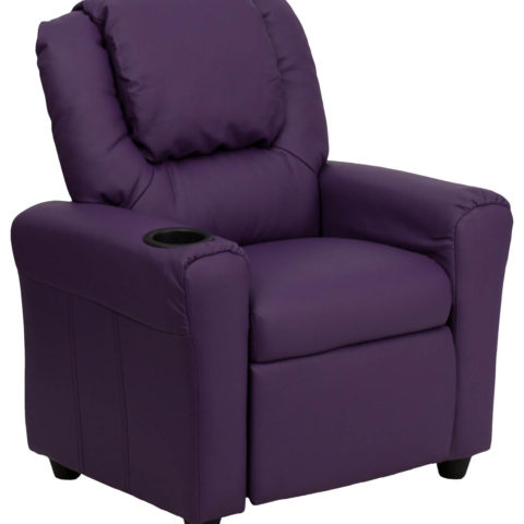 Contemporary Purple Vinyl Kids Recliner with Cup Holder and Headrest -0