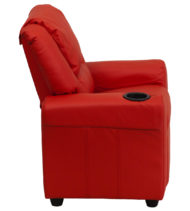 Contemporary Red Vinyl Kids Recliner with Cup Holder and Headrest -15704