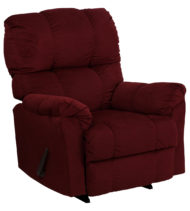 Contemporary Top Hat Berry Microfiber Rocker Recliner -0