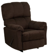 Contemporary Top Hat Chocolate Microfiber Rocker Recliner -0