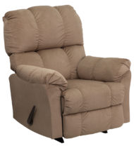 Contemporary Top Hat Coffee Microfiber Rocker Recliner -0