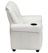 Contemporary White Vinyl Kids Recliner with Cup Holder and Headrest -15714