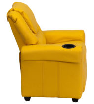 Contemporary Yellow Vinyl Kids Recliner with Cup Holder and Headrest -15719