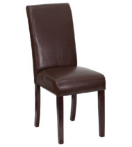 Dark Brown Leather Upholstered Parsons Chair -0