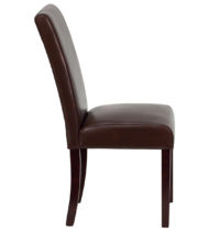 Dark Brown Leather Upholstered Parsons Chair -14880