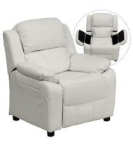 Deluxe Heavily Padded Contemporary White Vinyl Kids Recliner with Storage Arms -0