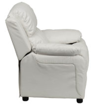 Deluxe Heavily Padded Contemporary White Vinyl Kids Recliner with Storage Arms -15439