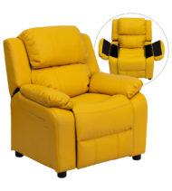 Deluxe Heavily Padded Contemporary Yellow Vinyl Kids Recliner with Storage Arms -0