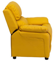 Deluxe Heavily Padded Contemporary Yellow Vinyl Kids Recliner with Storage Arms -15444