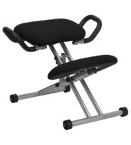 Ergoneel Kneeling Chair in Black Fabric with Handles-0