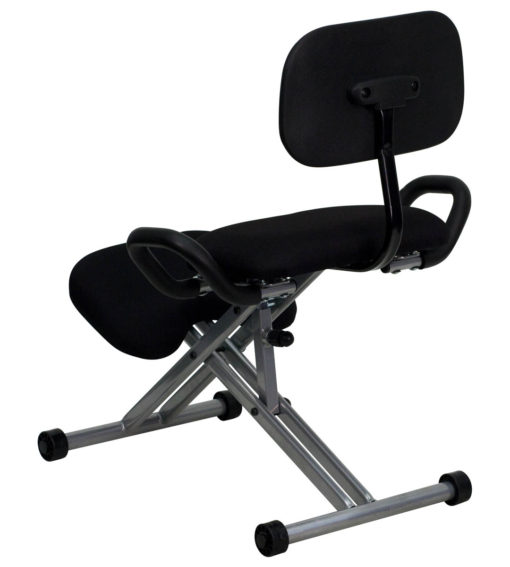 Ergoneel Kneeling Chair in Black Fabric with Back and Handles -17319