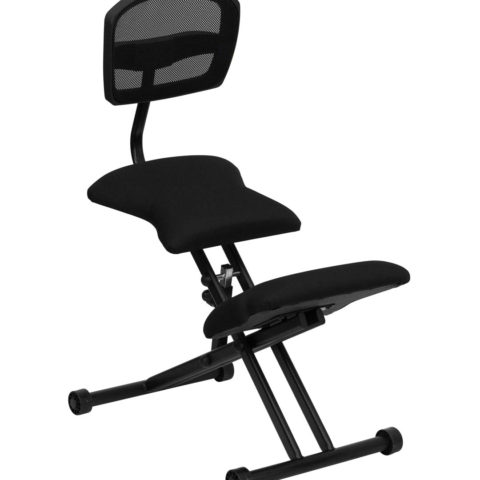Ergoneel Kneeling Chair with Black Mesh Back and Fabric Seat -0