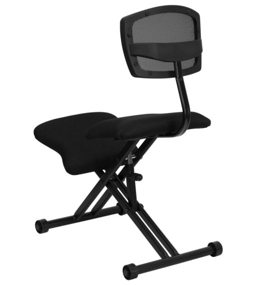 Ergoneel Kneeling Chair with Black Mesh Back and Fabric Seat -17323