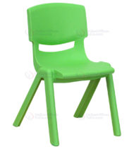 Green Plastic Stackable School Chair with 12'' Seat Height -0