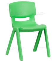 Green Plastic Stackable School Chair with 13.25'' Seat Height -0