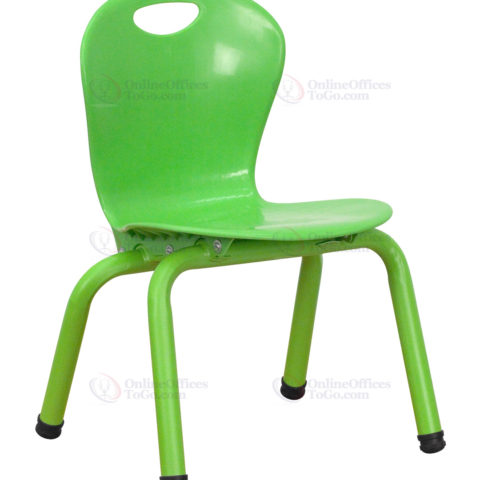 Green Plastic Stackable School Chair with 11.75'' Seat Height -0