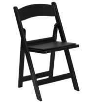 HERCULES Series 1000 lb. Capacity Black Resin Folding Chair with Black Vinyl Padded Seat -0