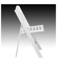 HERCULES Series 1000 lb. Capacity White Resin Folding Chair with Slatted Seat -16756