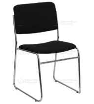 HERCULES Series 1000 lb. Capacity Black Fabric High Density Stacking Chair with Chrome Sled Base -0